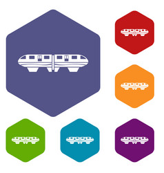 monorail train icons set vector image