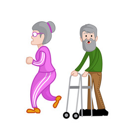 Older adult walking with support vector