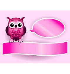 Owl making baby girl announcement vector
