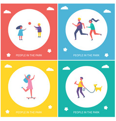 people have active leisure in park cartoon banner vector image