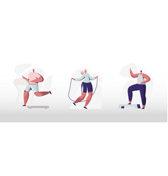 people training in gym set male and female vector image