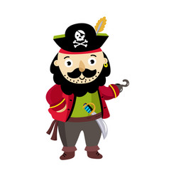 Pirate man character in cocked hat icon vector