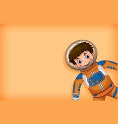 Plain background with happy astronaut in orange vector
