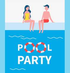Pool party couple poster text vector