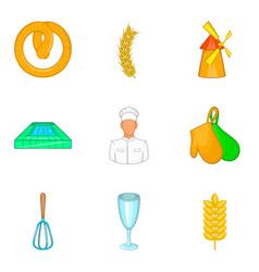 Preparation of rye icons set cartoon style vector