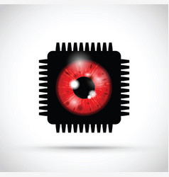 Red realistic eyeball on a microchip vector
