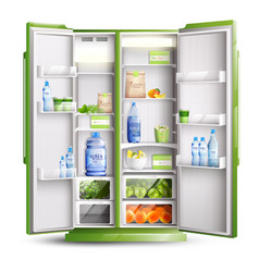 refrigerator organization realistic object vector image