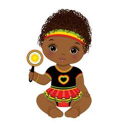 Reggae african american baby girl holding rattle vector