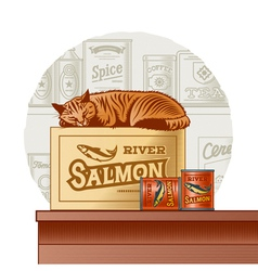 Retro canned fish and sleeping cat vector image