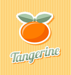 retro tangerine with title on striped background vector image