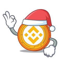 Santa binance coin mascot catoon vector