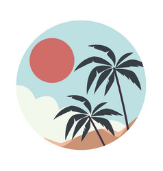 Sea scape flat scene with palms vector