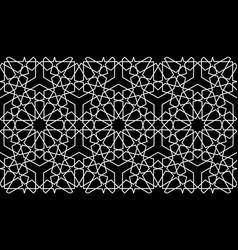Seamless islamic pattern white mosaic line art vector