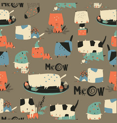 Seamless pattern with cute crazy cats and vector