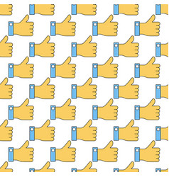 seamless pattern with like finger up vector image