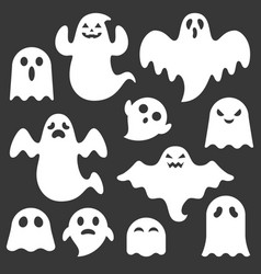 set cute ghost creation kit vector image