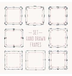 Set hand drawn line border vector image