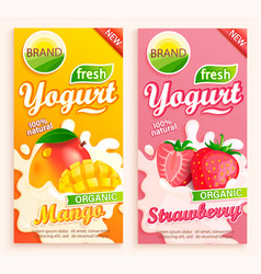 set mango and strawberry yogurt labels vector image