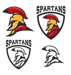 Set of emblems with Spartan helmet Design vector