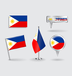 Set of Philippines pin icon and map pointer flags vector image
