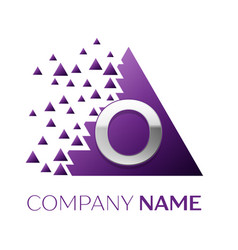 silver letter o logo in the purple pixel triangle vector image