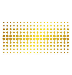 six pointed star golden halftone grid vector image