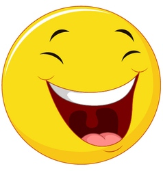 Smiling emoticon with laugh face vector