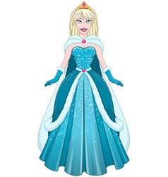 Snow Princess In Blue Dress And Cloak vector