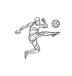 soccer player silhouette kicks ball vector image