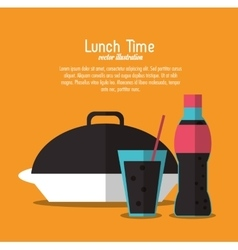 Soda coke plate lunch time menu icon vector