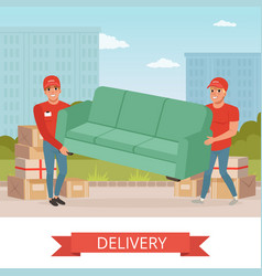 Strong guys carrying sofa cartoon couriers vector