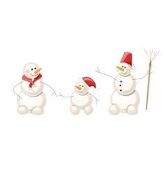 Three snowmen isolated on white vector image