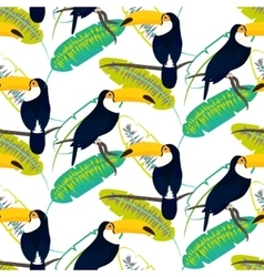 Toco toucan bird on banana leaves seamless vector