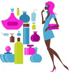 urban shopping girl cosmetics vector image