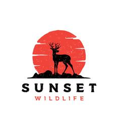 Vintage rustic deer antler silhouette logo design vector