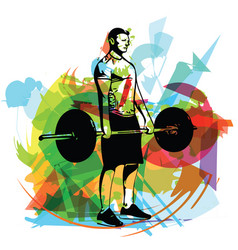 Weightlift workout at the gym with barbell vector