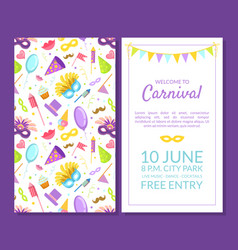Welcome to carnival masquerade party banner vector