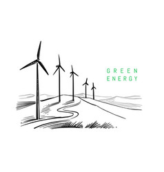 wind energy drawing on white background sketch vector image