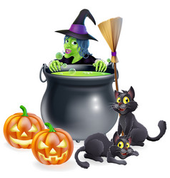 Witch halloween scene vector