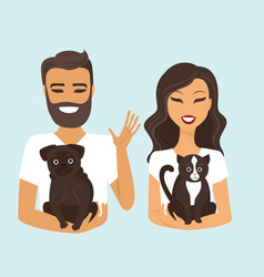 young couple with dog and cat vector image