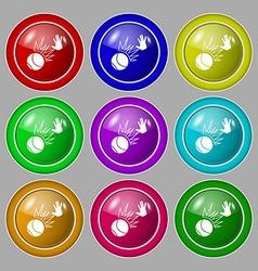 Basketball icon sign symbol on nine round vector image