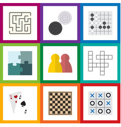 flat icon games set of ace labyrinth people and vector image vector image