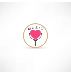 heart mic icon vector image vector image