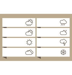 Labels set with weather signs vector image