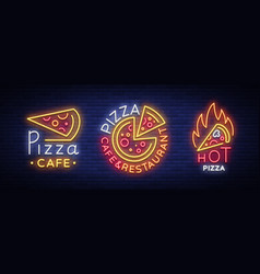 pizza collection of neon signs set neon vector image vector image