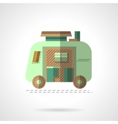 Flat color camping trailer icon vector image vector image