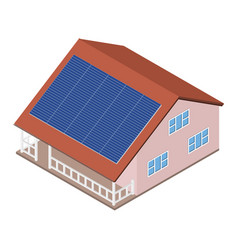 house with solar panel on roof vector image vector image