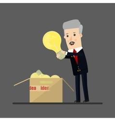 Lucky businessman has an idea Business concept vector image vector image