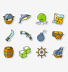 pirate and criminal icons set in line art vector image vector image