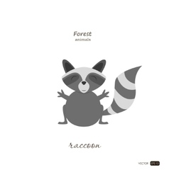 Raccoon in cartoon style on white background vector image